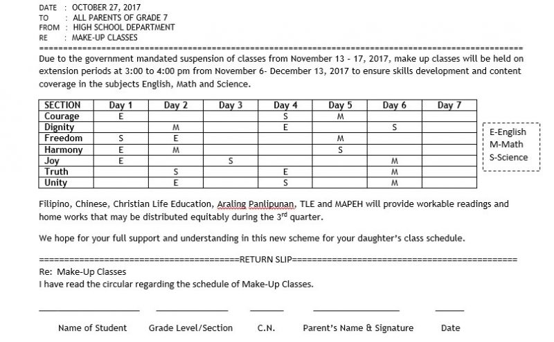 Schedule of Extension Classes for JHS